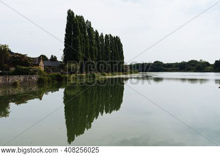Row Of Poplars Reflecting On The Lake Of Combourg
