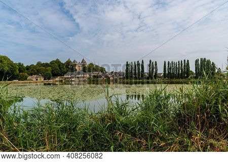 View Of The Medieval Town Of Comburg From The Lake