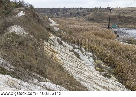 A Slope Of A Non-working Side Of A Clay Pit