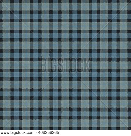 Blue Black Vintage Checkered Background With Blur, Gradient And Texture Grunge. Classic Checkered Ge