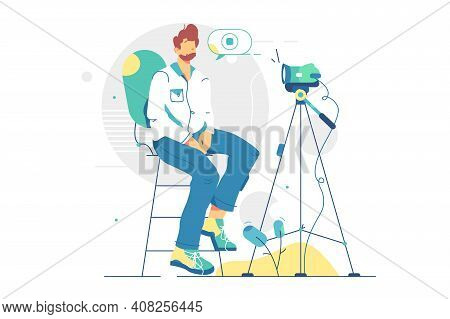 Man Involved In Film Industry Vector Illustration. Starting Filming Movie Scene Flat Style. Male Ope