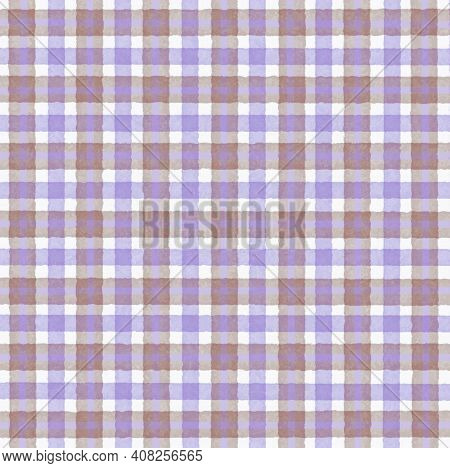 Brown Beige Lilac Vintage Checkered Background With Blur, Gradient And Grunge Texture. Classic Check