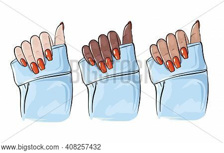 Nail Hands Beauty Art, Manicure Glamour Shellac Cosmetic Illustration. Modern Spa Salon Art, Fingern
