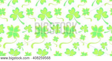 Light Green Seamless Pattern With Double Shamrock Leaves And Clover Hearts. Spring Green Background