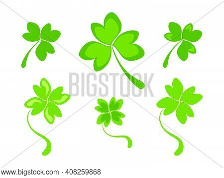 Set Of Three And Four Petal Clover Leaves. Simple Green Shamrock And Clover Leaves. Clipart Or Icon