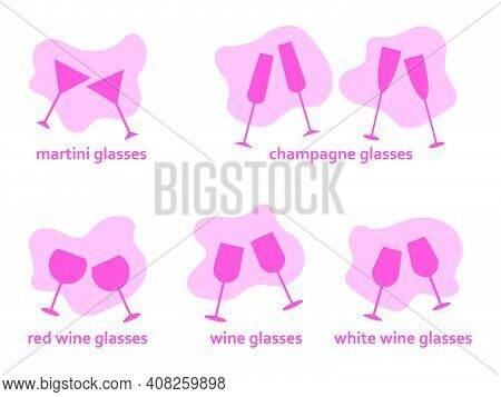 Set Of Classic Glasses For Alcohol. Pairs Of Two Glasses Cheers, Flat Icon Pink Vector Simple Illust