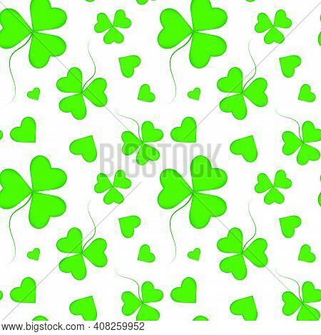 Spring Seamless Pattern For St. Patrick\'s Day. Shamrock Repeating Pattern, Heart Shaped Three Leave