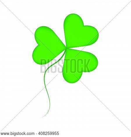 Green Juicy Shamrock With A Gradient. Simple Shamrock Icon. Stock Vector Illustration Isolated On Wh