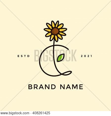Beauty And Charming Simple Illustration Logo Design Initial C Combine With Sun Flower.