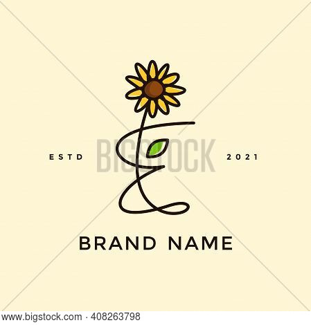 Beauty And Charming Simple Illustration Logo Design Initial E Combine With Sun Flower.