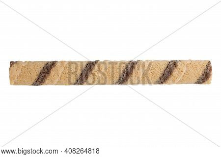 Wafer Stick On White Background. Wafer Roll With Chocolate Isolated On White Background