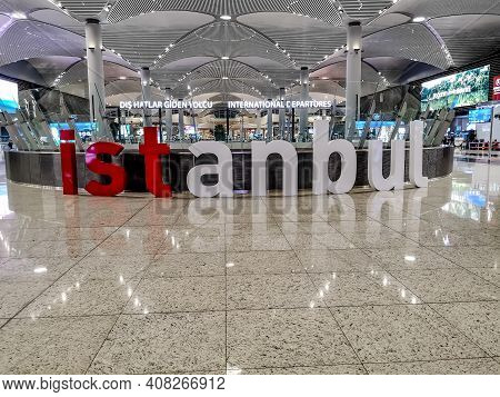 Istanbul, Turkey - October 29, 2019: Large Plastic Letters Istanbul Inside A Large Hall At Istanbul