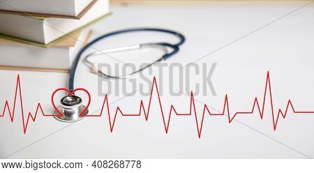 Stethoscope, Heart Health Insurance For Your Health Concept.annual Health Check.