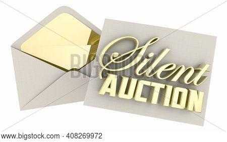 Silent Auction Event Invitation VIP Pass Fundraiser Charity 3d Illustration