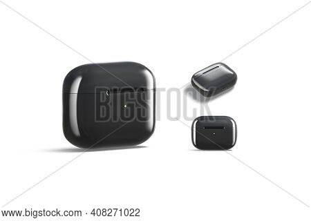 Blank Black Small Headphones Case Mock Up, Different Views, 3d Rendering. Empty Pro Earflaps For Sma