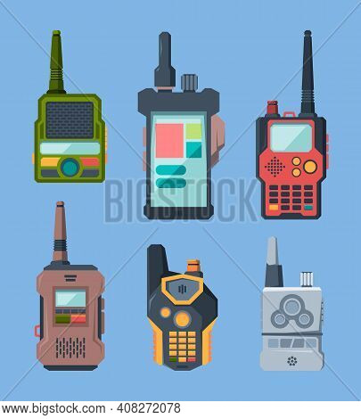 Radio Devices. Talk Military Or Police Station Transceiver Garish Vector Set In Cartoon Style. Illus