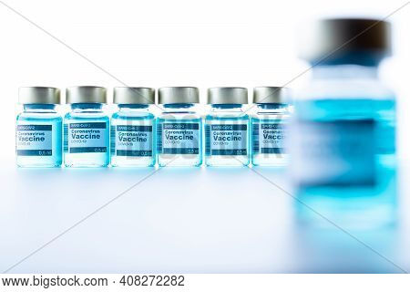 Injection Bottle. Medical Syringe With Needle For Protection Flu Virus And Coronavirus. Covid Vaccin