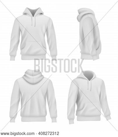 Hoodie Realistic. Fashion Sport Clothes For Man Sweater Casual White Shirt Decent Vector Pictures Se