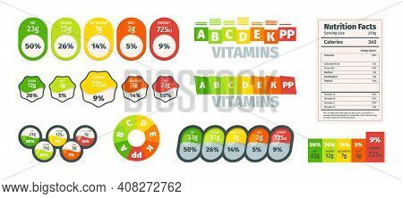 Nutrition Facts. Ingredients Value Nutrition Facts Design Labels Benefits Garish Vector Templates. N