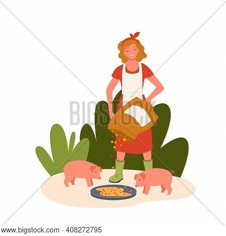 Pig Farm Livestock Concept, Farmer Agrarian Woman Feeding Cute Swine Domestic Animals