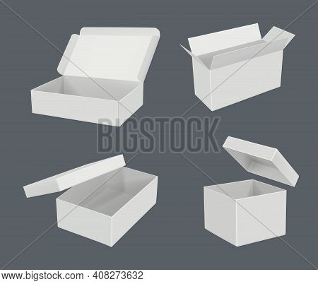 Open Realistic Boxes. Packages Templates Cardboard Empty Containers Decent Vector Blank Mockup. Illu