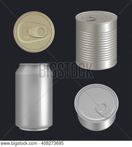 Metallic Cans. Aluminium Or Steel Beverages Packages For Drinks And Food Fish Tuna Decent Vector Rea
