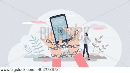 Internet Addiction Problem As Attached To Phone Habit Tiny Person Concept