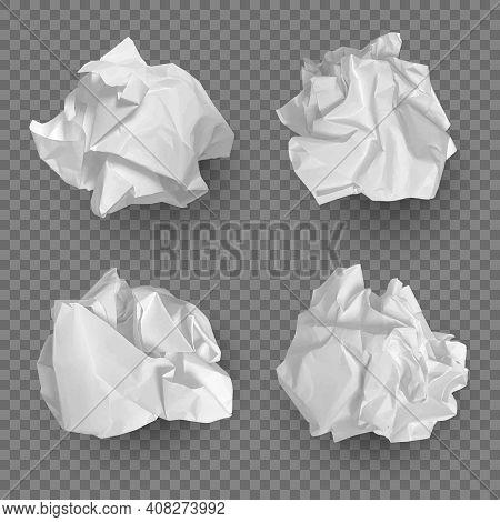 Crumpled Paper Balls. Realistic Garbage Bad Idea Symbols Crushed Piece Of Papers Decent Vector Templ