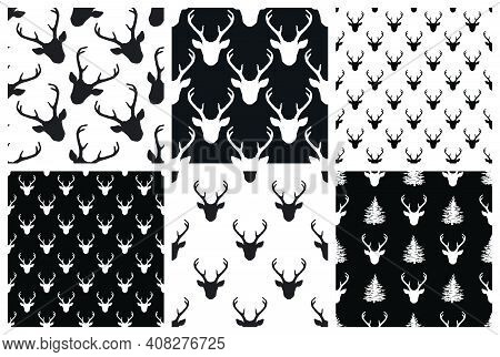 Monochrome Seamless Patterns Set With Deer Heads. Vector Nature Wildlife Animal Backgrounds In Black