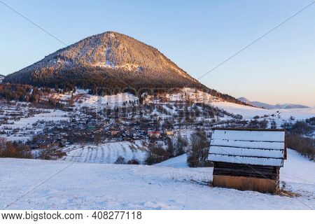 Sidirovo hill with Vlkolinec village UNESCO site, Velka Fatra mountains, Slovakia
