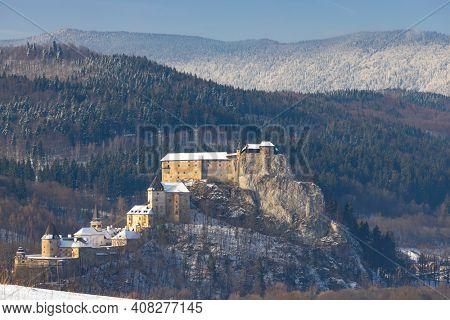 Orava castle, winter landscape, Orava region Slovakia