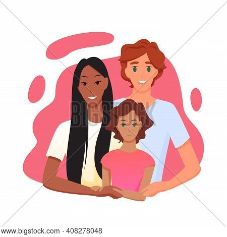 Family People With Multi Race Parent Hugging Child Daughter, Multiracial Relationship