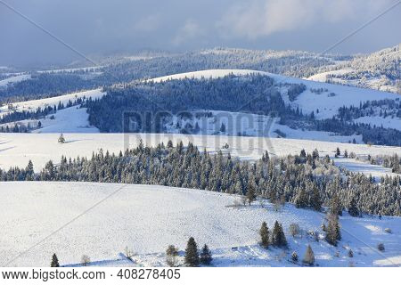 snow covered mountains ridge in Carpathians, Ukraine