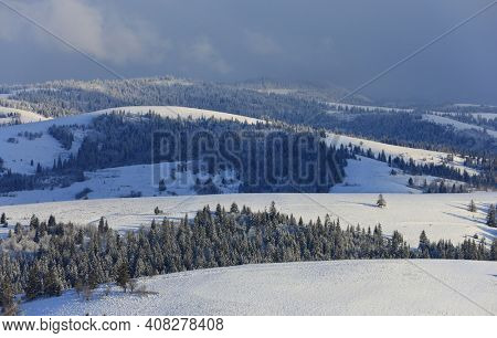 nice winter landscape with Carpathians mountain ridges in winter