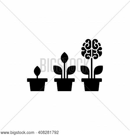 Black Flower Brain With Leaves In Pot. Intellect, Phsychology, Knowledge, Education Concept. Flat Ve