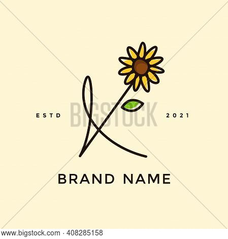 Beauty And Charming Simple Illustration Logo Design Initial K Combine With Sun Flower.