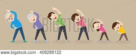 Big Family Exercising Together For Good Health ,grandfather, Grandmother, Father, Mother, Daughter,