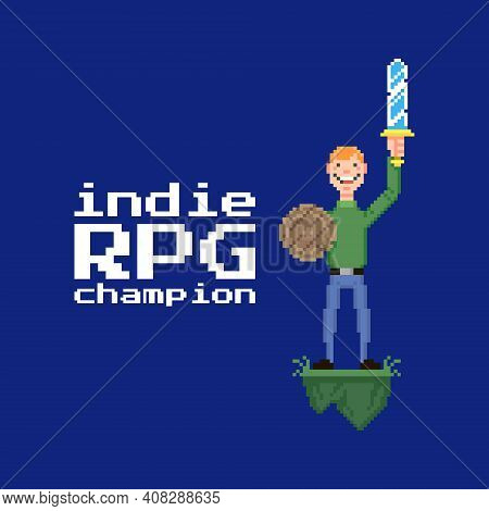 Colorful Simple Flat Pixel Art Illustration Of Young Guy Holding A Sword And Shield In His Hands And
