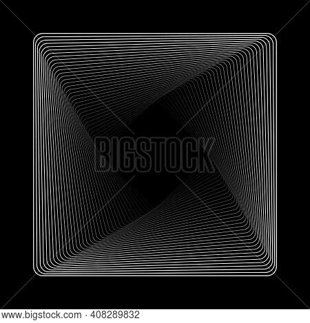 Brutalism Design Abstract Shape. Abstract Geometric 3d Shape Element Geometric Stroke Object On Blac