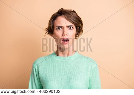 Photo Of Young Shocked Speechless Amazed Surprised Girl O-pen Mouth Look Camera Isolated On Beige Co