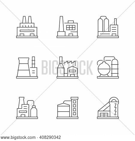Set Line Icons Of Factory Or Plant Isolated On White. Elevator, Oil Refinery Station, Industry Build
