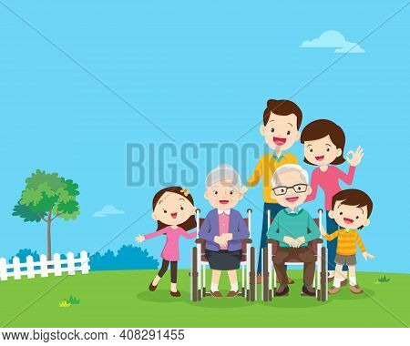 Big Family Together In The Park.happy Elderly Be Happy On Wheel Chair With Parents.