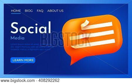 3d Chat Bubble Landing Page Template. Talk, Dialogue, Messenger Or Online Support Concept. Concept.
