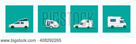 Vector Illustration Of Various Camper Cars. Mobile Home Travel Concept, Camping, Car Trip.