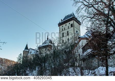 Beautiful Gothic Royal Karlstejn Castle In Winter With Snow,czech Republic.founded By Charles Iv.the