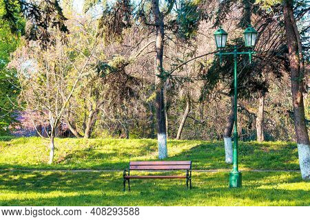 City Park In Early Spring. Bench On The Grassy Lawn In The Shadow Of The Trees In Front Of The Footp