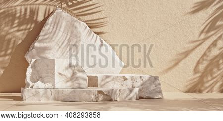 Minimal Mockup With Premium Podium Made Of Natural Stone Slabs And Palm-leaf Shadows On The Brown Wa