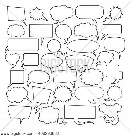 Hand Drawn Speech Bubbles Graphics. Thought Thinking Or Texting Bubble Set, Discussion Text Speak Do