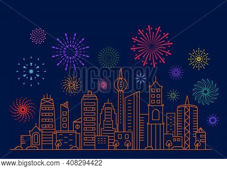 Beautiful Fireworks Against The Background Of The City Panorama. Modern Metropolis During The Holida