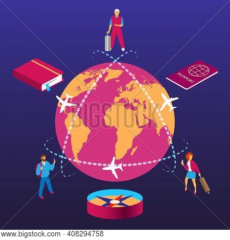 Globe Trip Travelling. Isometric World Travel Concept, International Tourists World Global Traveling